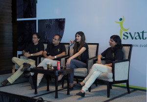 MUMBAI, (GNI): (L-R) Anujeet Varadkar, Chief Executive Officer of Svatantra, Vineet Chatree, Director of Svatantra Microfinanc, Ms. Ananya Birla, Founder & Chairman, Svantantra Microfin, Ms. Vrushali Mahajan, Senior Vice President Accounts and Finance, of Svatantra Microfin Pvt. Ltd., the new-age microfinance institution dedicated towards financial inclusion of rural women, launches their end-to-end mobility solution 'Saathi' in Mumbai - Photo by GNI