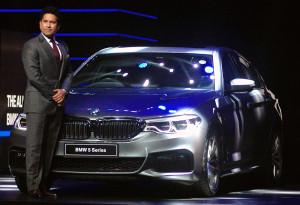 MUMBAI, (GNI): Cricketer Sachin Tendulkar, brand ambassador of BMW India during launch the BMW 5 series car in Mumbai - Photo by Sumant Gajinkar