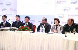 MUMBAI, (GNI): From L-R: Koji Suzuki - Managing director Rohto  ( India ):Ryoji Noda - Consul - General of Japan – Mumbai:Dr. Lekh Raj Juneja - Executive Vice President Rhoto Pharma Pvt. Ltd: B.L. Mittal - Founder & Executive Chairman , Sastasundar Healthbuddy  Ltd.;Miyuki Eguchi - Consul - Economic Section; Ravikanth Sharma - Managing Director & CEO , Sastasundar Healthbuddy Ltd. at press conference in Mumbai - Photo byn GNI