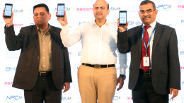 NEW DELHI, (GNI): L-R -  Shashin Devsare - Executive Director, Karbonn Mobiles, Ashish Aggarwal - Director, Karbonn Mobiles and A. P. Hota - MD & CEO, NPCI, as  Karbonn Mobiles has partnered with National Payments Corporation of India (NPCI) to become the first Indian smartphone brand to integrate BHIM App (Bharat Interface for Money) in its latest device 'K9 Kavach 4G', in New Delhi -Photo by GNI