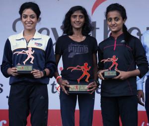 Womens 10K winners, 1st Varsha Bhawari, 2nd Simta Sharma & 3rd Shewta Gawade
