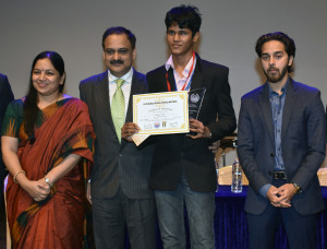 L to R - Deepa Shetty - Principal - GBMS, Shri Vivek Phansalkar- Additional Director General, ACB, Bhavya Shah - Best Delegate JCC 2017, Nirvaan Birla - Head of Business Development - Birla Edutech