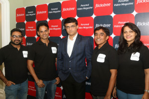MUMBAI, (GNI): L-R: Rahul Jain, Saurabh Singh, Former Cricketer Sourav Ganguly and Nagender Sangra at the Flickstree announcement event, in Mumbai - photo by GNI