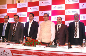 MUMBAI, (GNI): R K sinha, Chairman of Security and Intelligence Service (india) Ltd with Rituraj sinha, Group Managing Director (2nd R) along with team members duing announcement the Company IPO in Mumbai on Tuesday photo by Sumant Gajinkar