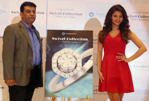 MUMBAI, (GNI): Bollywood star Urvashi Rautela and Mr. Saurav Bhattacharya - President - Sales & Marketing Nakshatra World, of Nakshatra World introduced the unique Swivel collection from Nakshatra Diamond Jewellery – India's iconic diamond jewellery brand that brings in technology which incorporates a swivel movement– for the first time in the Indian market at a special event in Mumbai - photo by Sumant Gajinkar