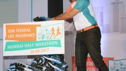 MUMBAI, (GNI): Sachin Tendulkar donates 100 pairs of shoes to IDBI Federal Life Insurance Mumbai Half Marathon initiative to support Green Soles  at the IDBI Federal Life Insurance Mumbai Half Marathon press conference in Mumbai - Photo by GNI