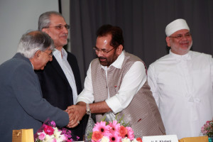 MUMBAI, (GNI): Sam Balsara, H.E Khalegi Consul General of Iran, Mukhtar Abbas Naqvi Minister of Minority Affairs & Vada Dasturji Khurshed Dastur Saheb, in Mumbai  - photo by GNI