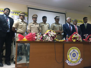 MUMBAI, (GNI): L-R Ajit Krishnan (Risk Containment Unit - Capital First), DCP Ashok Dudhe, DCP Saurabh Tripathi, DCP, Sanjay Jadhav, Joint CP Traffic Amitesh Kumar, Nihal Desai (Executive Director, Captial First), Adrian Andrade (HR - Capital First) and Amitosh Mishra (Head - Risk Containment Unit, Capital First), in Mumbai - photo by Sumant Gajinkar