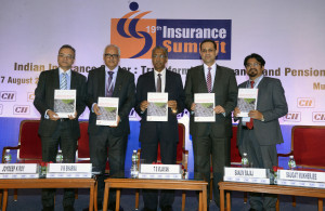 "MUMBAI, (GNI) T S Vijayan, Chairman, Insurance Regulatory and Development Authority of India (IRDA), V K Sharma, Chairman, Life Insurance Corporation of India, Sanjiv Bajaj, Chairman, CII National Committee on Insurance and Pensions & Managing Director, Bajaj Finserv Ltd, Dr Saugat Mukherjee, CII Regional Director,    Joydeep K Roy Partner and Leader, Insurance and Allied Businesses, PwC,  IRDA Chairman released CII-PwC Report on Insurance Sector at CII Insurance Summit: ""Evolving considerations for the Indian Insurance Industry"" : CII-PwC Report, in Mumbai -- Photo by Sumant Gajinkar"