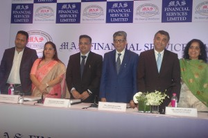 Mumbai : Kamlesh Gandhi, Chairman & MD of MAS Financial Services Ltd and Mukesh Gandhi, Director & CFO (R) during announcement the Company IPO in Mumbai on Thursday. Photo 28.09.2017