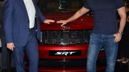 Actor Saif Ali Khan with Mr. Kevin Flynn- President and MD. FCA India as he takes delivery of his new Jeep Grand Cherokee SRT at Landmark Jeep, Worli Mumbai