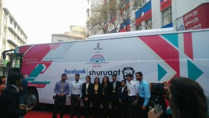 Aspiring students and entrepreneurs gathered around Shuruaat Bus