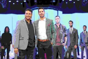 (L-R) Mr. Abhay Bahugune, Chief Operating Officer (COO) – Van Heusen, Aditya Birla Fashion and Lifestyle Ltd and Dino Morea (showstopper) walking the ramp at Van Heusen + GQ Fashion Nights 2017 -Day1-min