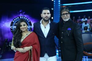 Vidya Balan and Yuvraj Singh on Kaun Banega Crorepati 9 finale(1)