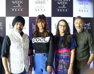 Jury From L to R Jaspreet Chandok, Head of Fashion IMG R, Esha Gupta, Purnima Lamba, Head of Innovations Lakme, and Nikhil Mehra, Designer Shantanu and Nikhil