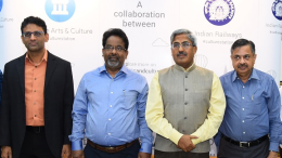 Mr. Ben Gomes, Vice President (Search), Google along Shri D.K. Sharma, General Manager, Central Railway, Shri R.K. Verma, Secretary, Railway Board launching video installations at Mumbai's CSMT Station
