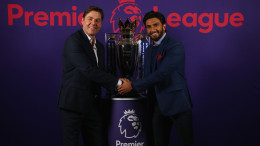 LONDON, ENGLAND - DECEMBER 22: The Premier League Managing Director, Richard Masters and Actor Ranveer Singh pose with the Premier League Trophy during a photo call to mark his appointment as a Premier League ambassador on December 22, 2017 in London, England. (Photo by Steve Bardens/Getty Images for Premier League) *** Local Caption *** Richard Masters; Ranveer Singh