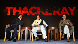 Sanjay Raut, Amitabh Bachchan, Uddhav Thackeray at the teaser launch of Sanjay Raut's 'Thackeray', directed by Abhijit Panse
