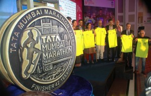 Mumbai : Harish Bhatt, Brand Custodian of Tata sons and others during the launch of Tata Mumbai Marathon 2018 Logo in Mumbai on Thursday. Photo Girish Srivastav/11.01.2018