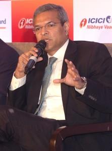 Mumbai : Bhargav Dasgupta, MD & CEO of ICICI Lombard General Insurance address on Readiness of India Inc. with respect to Risk Management research in Mumbai on Friday. Photo Girish Srivastav/19.01.2018