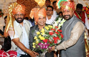 B.N.Tiwari, Rajpal Yadav,General Secretary Gangeshwarlal Shrivastav a.k.a Sanju at 34th Anniversary Annual Day Celebration of Film Studios Setting & Allied Mazdoor Union on January 26 at Mumbai