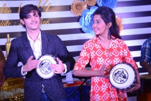Television actor Rohan Mehra and Television actress Kanchi Singh participate in the drum jam acitivity at Inorbit mall 14th Anniversary celebration