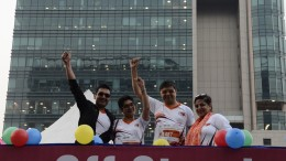 L TO R Amit Mookim, General Manager, India and South Asia, IQVIA and Sangeeta Barde, Co-founder ORDI cheering the crowd at Race for 7 - A run to spread awareness on rare diseases