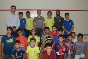 Rishad Pandole, Gul Panag & Abhinav Sinha, with junior squash players of CCI