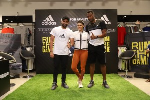 From left - Rohit Sharma, Saiyami Kher and Kieron Pollard at the launch of adidas AlphaBOUNCE Beyond, Mumbai
