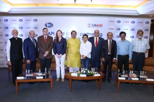 Speaker Panel at the press conference for the announcement of AAPI and USAID association for TB - Free India