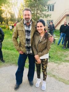 1. Lizaa Malik with Sanjay Dutt on the sets of Torbaaz