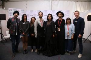 From L-R Jaspree Chandok, Head-Fashion IMG R; Saaksha Parekh; Payal Singhal; Akshat Bansal; Priyanka Bose; Sumiran Kabir Sharma; Anjali Patel Mehta; and Ryan Bennett, GM-WeWork India at LFW SR 18