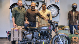 (L-R) Mark Wells, Head-Global Product Strategy & Industrial Design; Rudratej (Rudy) Singh-President; Shaji Koshy-Head India Business+, Royal Enfield @ India launch of Classic 500 Pegasus