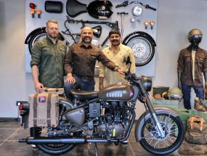 (L-R) Mark Wells, Head-Global Product Strategy & Industrial Design; Rudratej (Rudy) Singh-President; Shaji Koshy-Head India Business+, Royal Enfield @ India launch of Classic 500 Pegasus