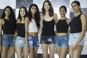 From L to R - LFW Model Audition winners, Priti Jana, Rewati Chetri, Dechka Asthakumar, Mariana Falaschi, Rishitha Koruturu, Sharvi Bhujbal