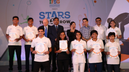 (L-R) John Loffagen, Ratnakar Shetty and Mary Kom with the Young athletes at the launch event of IFSG - Stars of Tomorrow