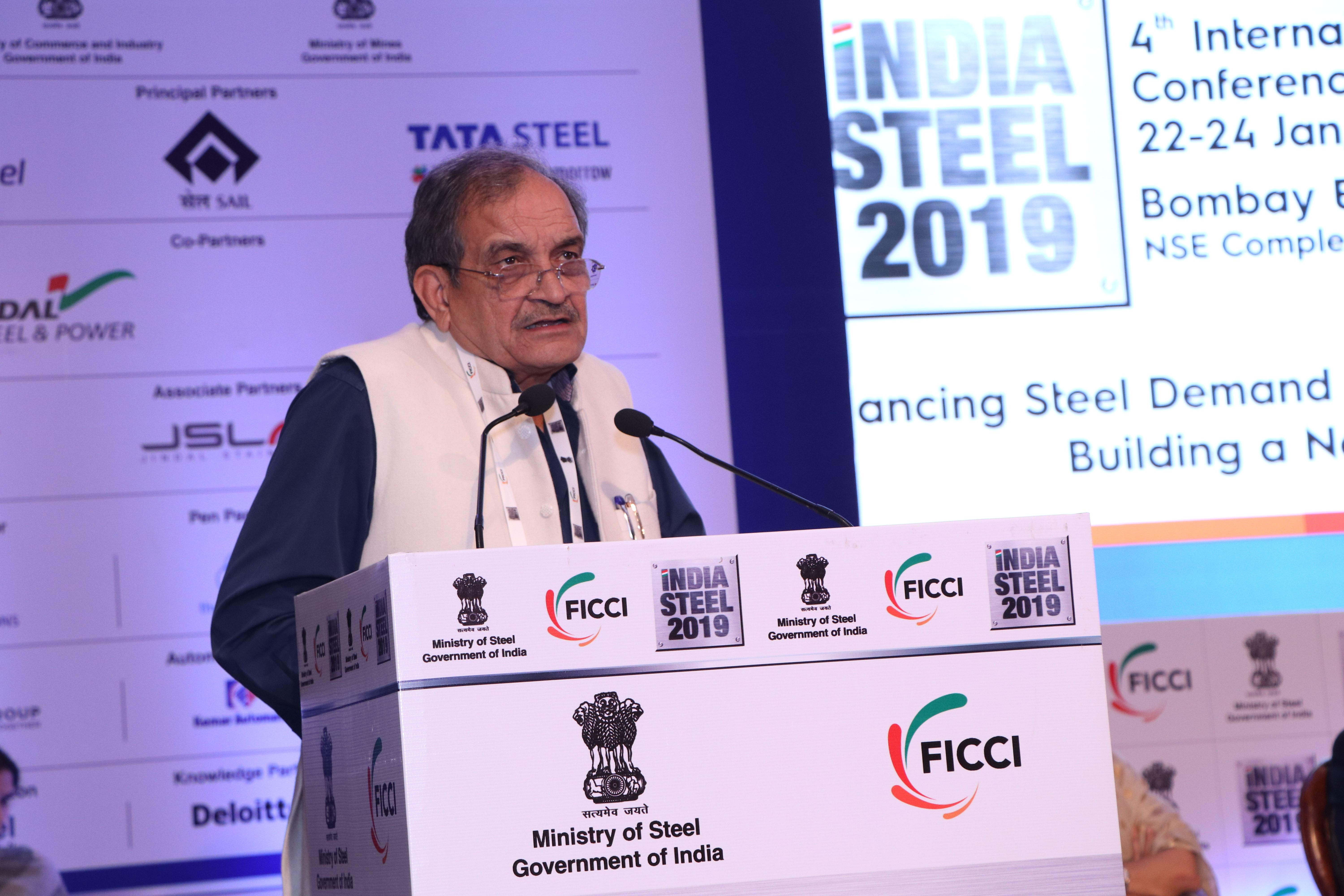Hon'ble Minister of Steel Chaudhary Birender Singh at FICCI's 4th International Exhibition and Conference - 'INDIA STEEL 2019