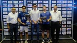 (L to R) Premal Udani - President of CCI, Tarek Momen, Mustafa Ghouse - CEO of JSW Sports, Fares Dessouky, Naval Pandole - Vice President of CCI Squash Committee