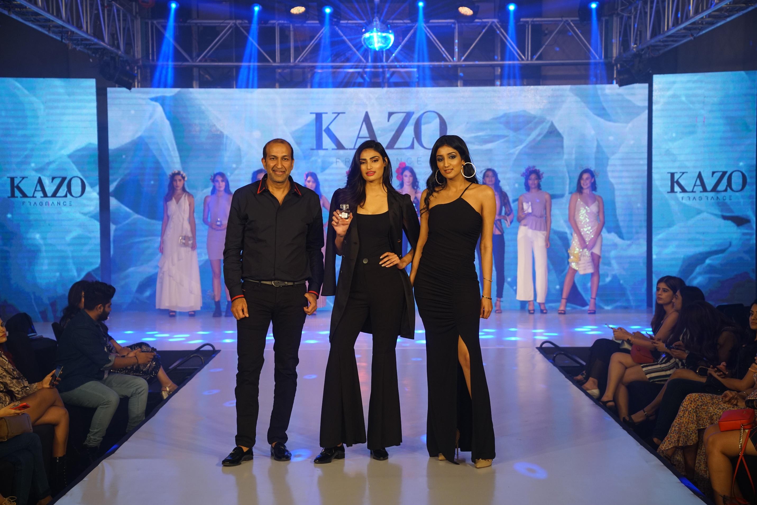 Deepak Aggarwal, MD, KAZO, Athiya Shetty & Divya Aggarwal, Creative Director, KAZO at the unveiling of KAZO's fragrance collection
