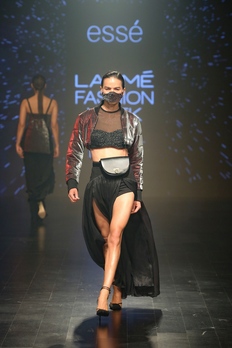 "Model walks the ramp during ""Integument SWGT ESSE"" show  at the Runway, by Designers - Sahib Dang( Essé), Deepak Pathak (Integument) and Shweta Gupta (SWGT) during the Lakme Fashion Week Summer Resort 2019 at Jio Gardens in Mumbai, India on February 1st , 2019. Photo : FS Images / Lakme Fashion Week / IMG Reliance"