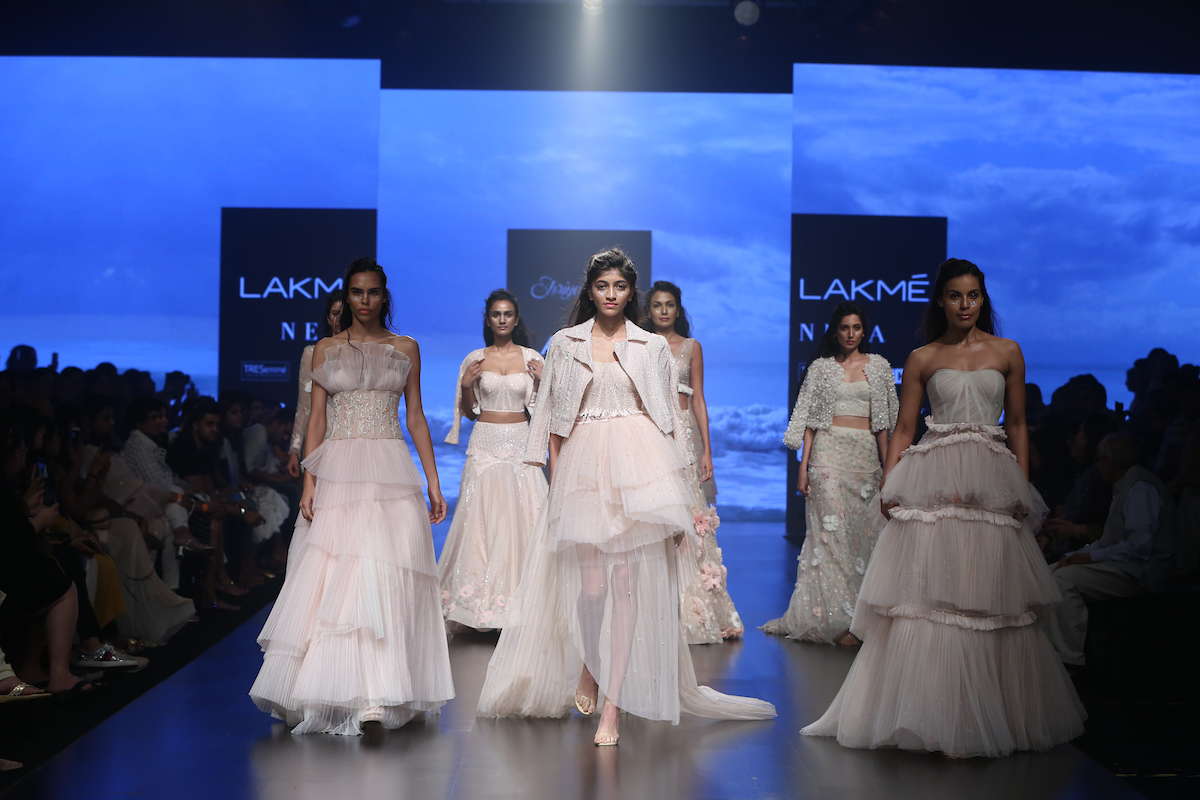 "Model walks the ramp during ""Shriya Som/ Shehlaa"" show at the Runway by designers Shehla Khan (Shehlaa) and Shriya Som (Shriya Som) during the Lakme Fashion Week Summer Resort 2019 at Jio Gardens in Mumbai, India on February 3rd, 2019. Photo : FS Images / Lakme Fashion Week / IMG Reliance"