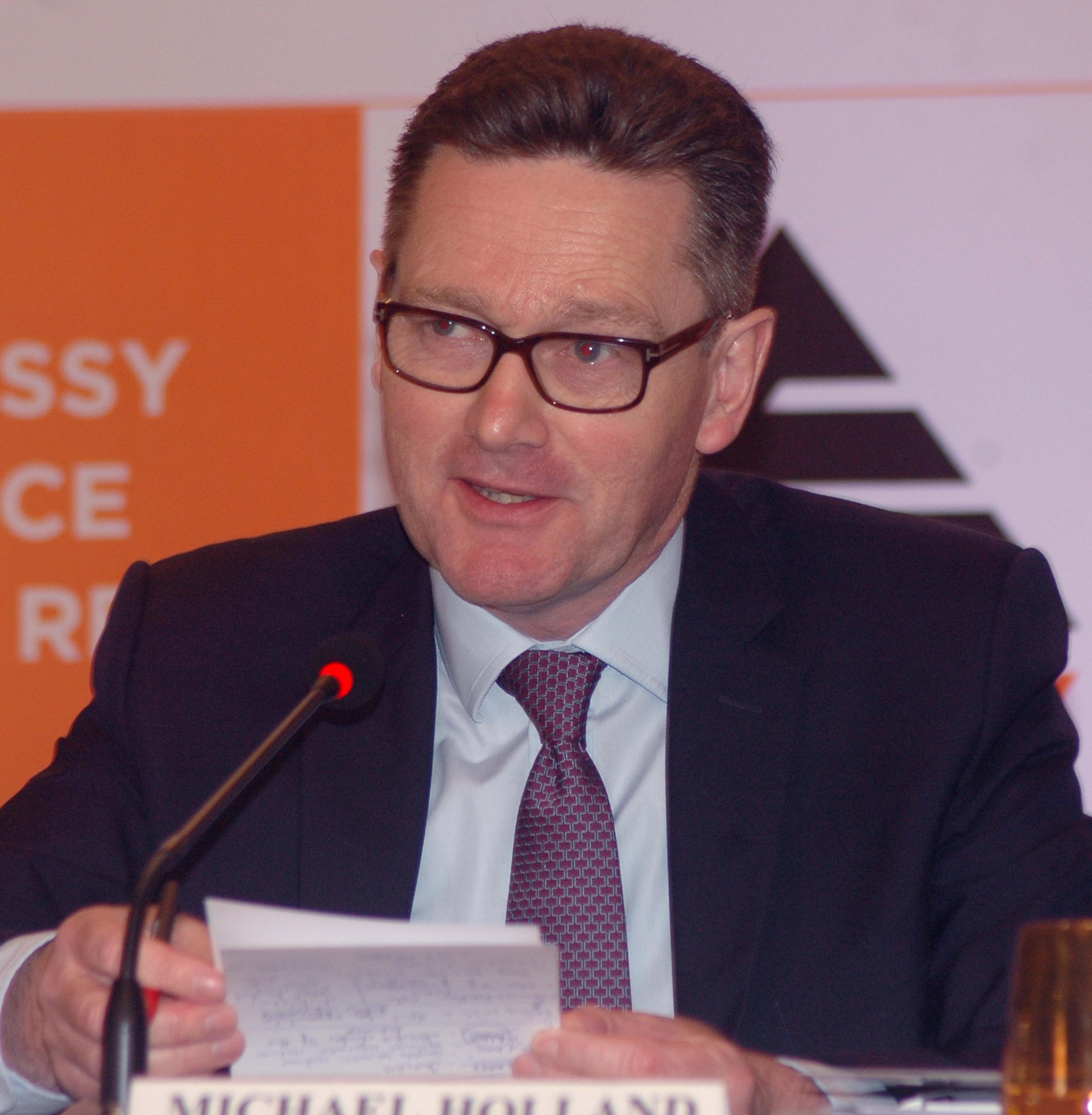 Mumbai : Michael Holland, CEO of Embassy Office Parks REIT address during announcement the Company IPO in Mumbai on Wednesday. Photo Girish Srivastav/13.03.2019