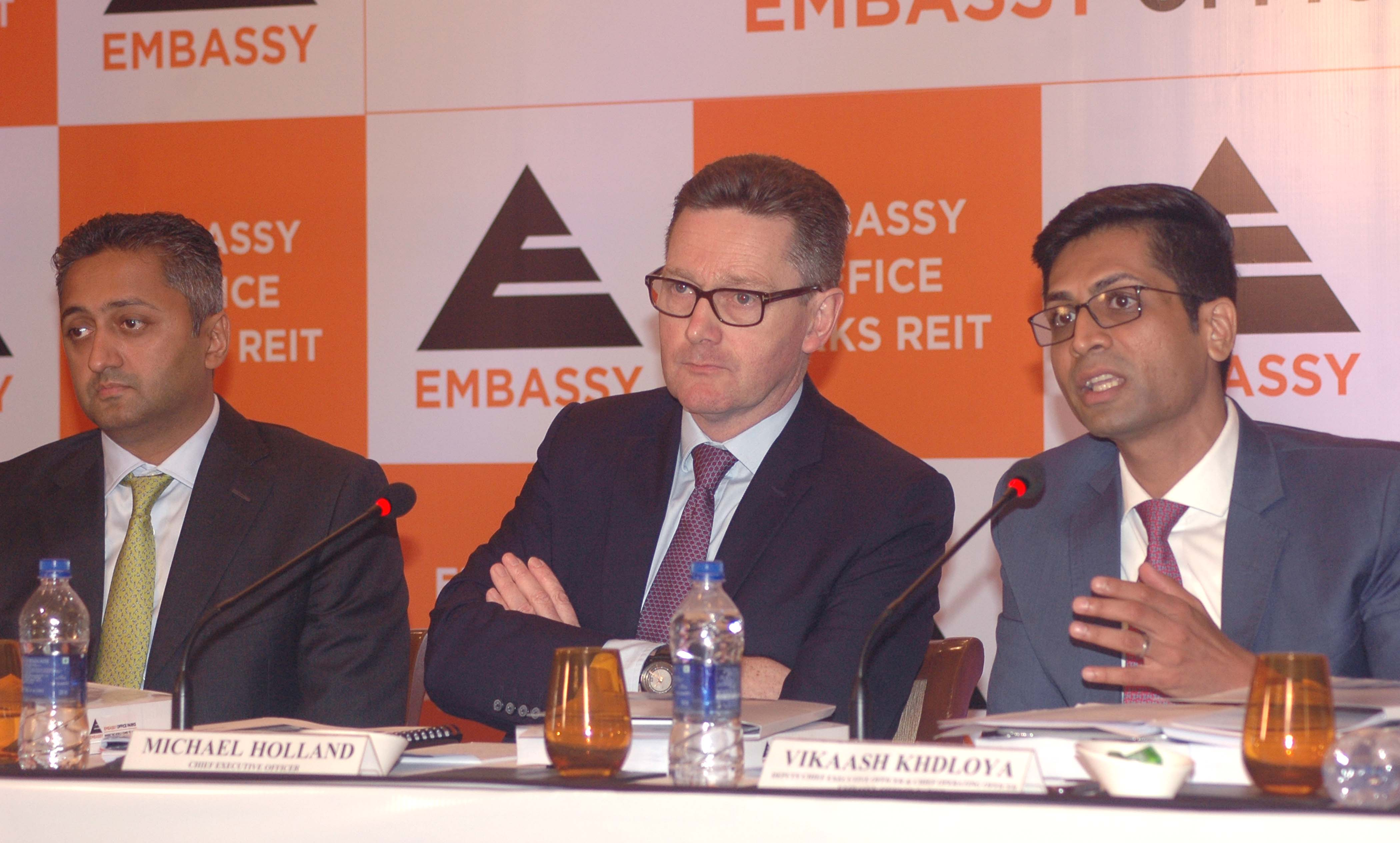 Mumbai : Michael Holland, CEO of Embassy Office Parks REIT (C) address during announcement the Company IPO in Mumbai on Wednesday. Photo Girish Srivastav/13.03.2019