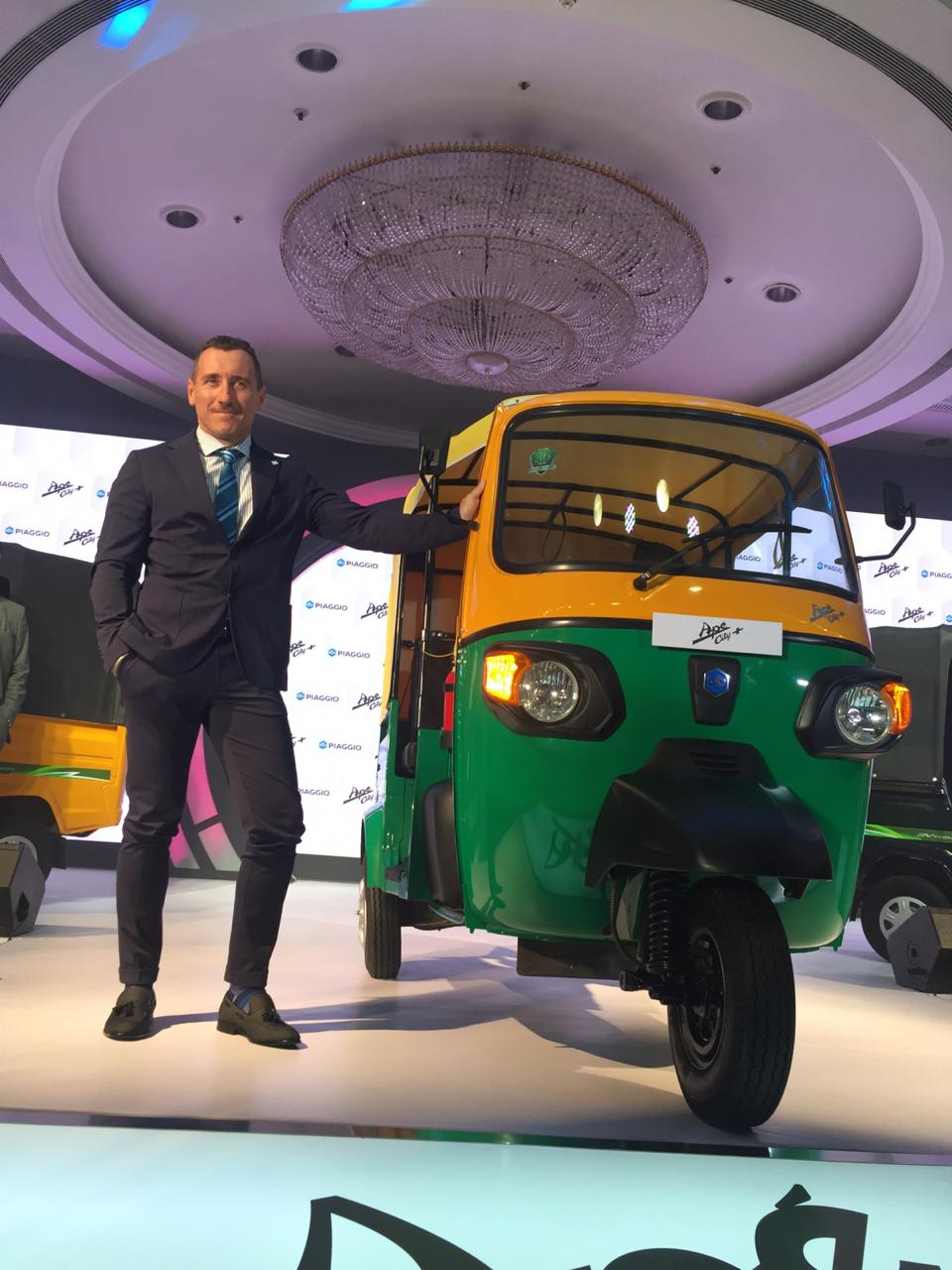 Diego Graffi MD & CEO Piaggio Vehicles with newly launched Ape' City + Pic 2