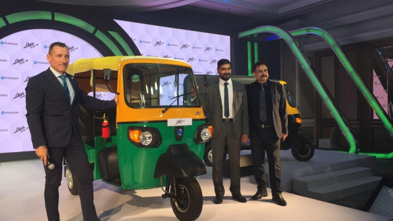 LtoR Mr. Diego Graffi MD & CEO Piaggio Vehicles, Mr. Saju Nair EVP CV Business and Mr. Malind Kapur SVP Marketing and CV Business with newly launched Ape' City+